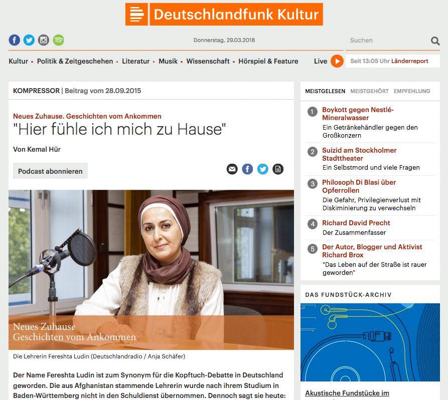Neues Zuhause, Geschchten vom Ankommen,Studiogast Fereshta Ludin Deutschlandfunk Kultur