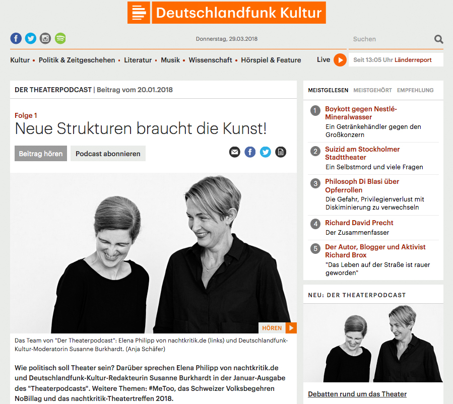 Theaterpodcast Deutschlandfunk Kultur